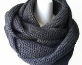 Scrolling Infinity Scarf Charcoal Grey Eternity Loop Scarf Oversize Charcoal Cowl Women Men SAMANTHA Ready to Ship - Autumn, Winter Fashion