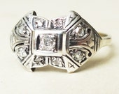Unique Art Deco Diamond Shield Ring, 18k Gold and Diamond Engagement Ring Size US 8.25