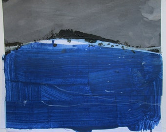 Remember, Original Landscape Collage Painting on Paper, Stooshinoff