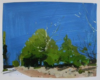 Old Cedar, Original Landscape Collage Painting on Paper, Stooshinoff