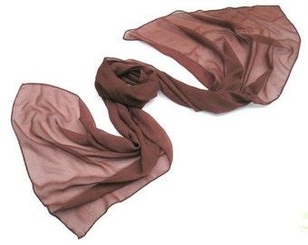 Dark Red Brown Shawl Auburn Wrap Rust Coverup Scarf, Hand Dyed. Marsala Sheer Silk Chiffon Formal Evening Shawl, Unique Handmade, Artinsilk
