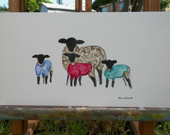 Sheep in Sweaters Family Portrait Watercolor Lamb Art Original Painting by Artist Debra Alouise