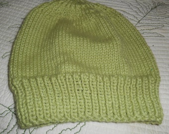 Hand knit knitted hat cap beanie  light green sweet pea alpaca silk Men women teens