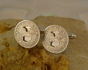 Big Easy Baby - Vintage Authentic New Orleans Louisiana Silver Streetcar Transit Token Cufflinks, Man Gift, Groomsmen Gift