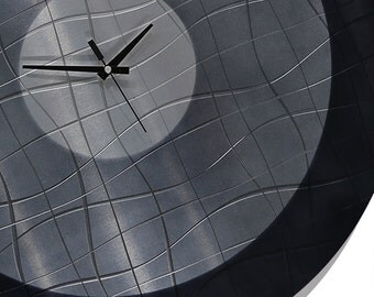 Silver Abstract Wall Clock - Modern Metal Functional Art - Handcrafted Hanging Circle Timepiece - Vibrations In Charcoal by Jon Allen