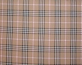 Tan Plaid Fabric Black White Cranberry Red