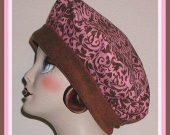 Damask Hat Beret Large Pink Brown Scrolls Design Reversible Women Women's
