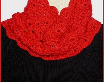 Red Cowl Neck Warmer Women's Fashion Lacy Design Lacey Infinity Scarf