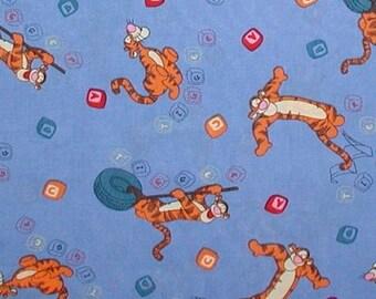 Tigger Tiger Fabric Baby Blocks Alphabet Blue Orange Black Blue 1 1/4 Yards