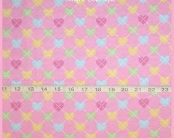 Hearts Flannel Fabric Pink Magenta Aqua Yellow Lime White