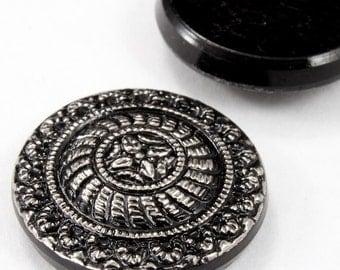 18mm Silver on Black Medallion Cabochon #FGA074