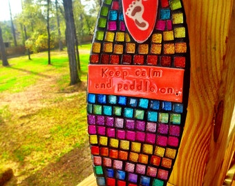 Made to order Rainbow SUP Mosaic ART Keep calm paddle on SURF's Up stand up paddle board