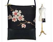 Plum Blossom Mini Sling Bag, Black Crossbody Bag, Small Shoulder Bag Purse fits iPhone 6 Plus Case, Asian cherry red  white MTO