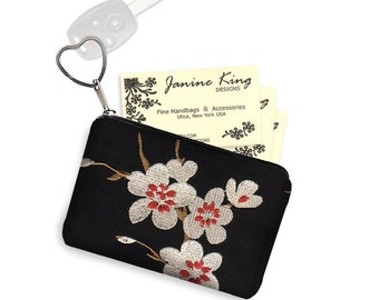 Asian Blossom Business Card Holder Fabric Pouch Key Fob Small Zipper Bag Coin Purse Key Chain cherry red black white RTS