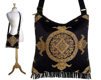 Gypsy Boho Fringe Purse, Black Hippie Bag, Hobo Bag Cross Body,  Medallion Tapestry Handbag, long strap,  zipper,  handmade RTS