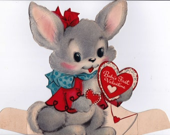 Vintage 1950u0027s Babyu0027s First Valentine Bunny Greetings Card ...