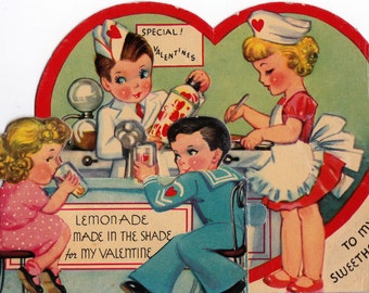 1920s VintageTo My Sweetheart American Diner Valentines Greetings Card (B16)