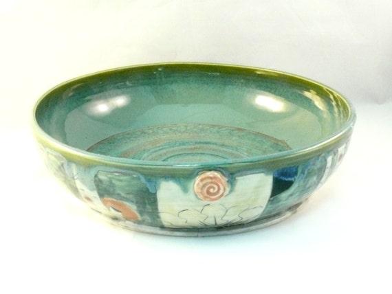Large handmade ceramic pasta serving bowl in green, Artistic Serving Bowl, Family Size Salad Bowl, Wedding gift, Mother's DayGift