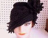 Black Crochet Hat Womens Hat, Crochet Hat, Summer Hat for Women, Cloche Hat with Flower, Crochet Flower Black Hat, LAUREN Cloche Hat