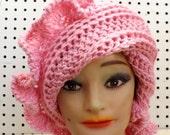 Pink Crochet Hat Womens Hat, Ruffle Crochet Beanie Hat, Pink Hat, Crochet Winter Hat, CYNTHIA Beanie Hat for Women
