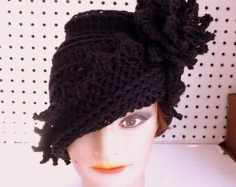 Crochet Hat Women,  LAUREN Black Cloche Hat 1920s,  Flower Cloche Hat Crochet,  Summer Cloche Hat,  Sun Cloche Hat,  Black Hat,
