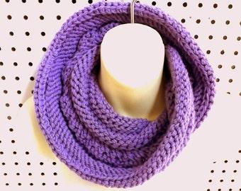 Knit Scarf, Knit Infinity Scarf, Cowl Scarf, Amethyst Scarf, COIL, WInter Scarf