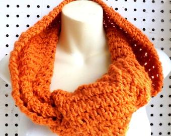 Eternity Scarf Desert Glaze Orange Crochet Scarf, Crochet Infinity Scarf, Crochet Cowl Scarf, Orange Scarf, KNOT Ribbed Scarf, Winter Scarf