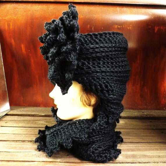 Crochet Hat and Scarf, Womens Hat and Scarf Set, LAUREN Cloche Hat, Crochet Flower, Black Crochet Scarf, Infinity Scarf,  Winter Scarf