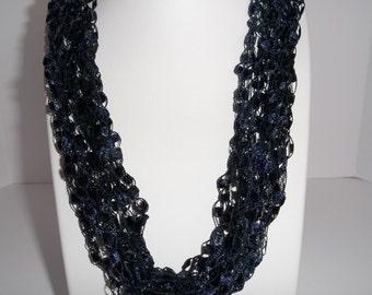 Navy Blue Ladder Lace Necklace ,Crochet Ladder Lace Necklace Trellis Ribbon Lace Fiber Yarn. Blue