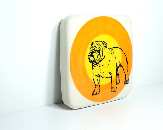 tile with a bulldog on a color block of orange & yellow, made to order.