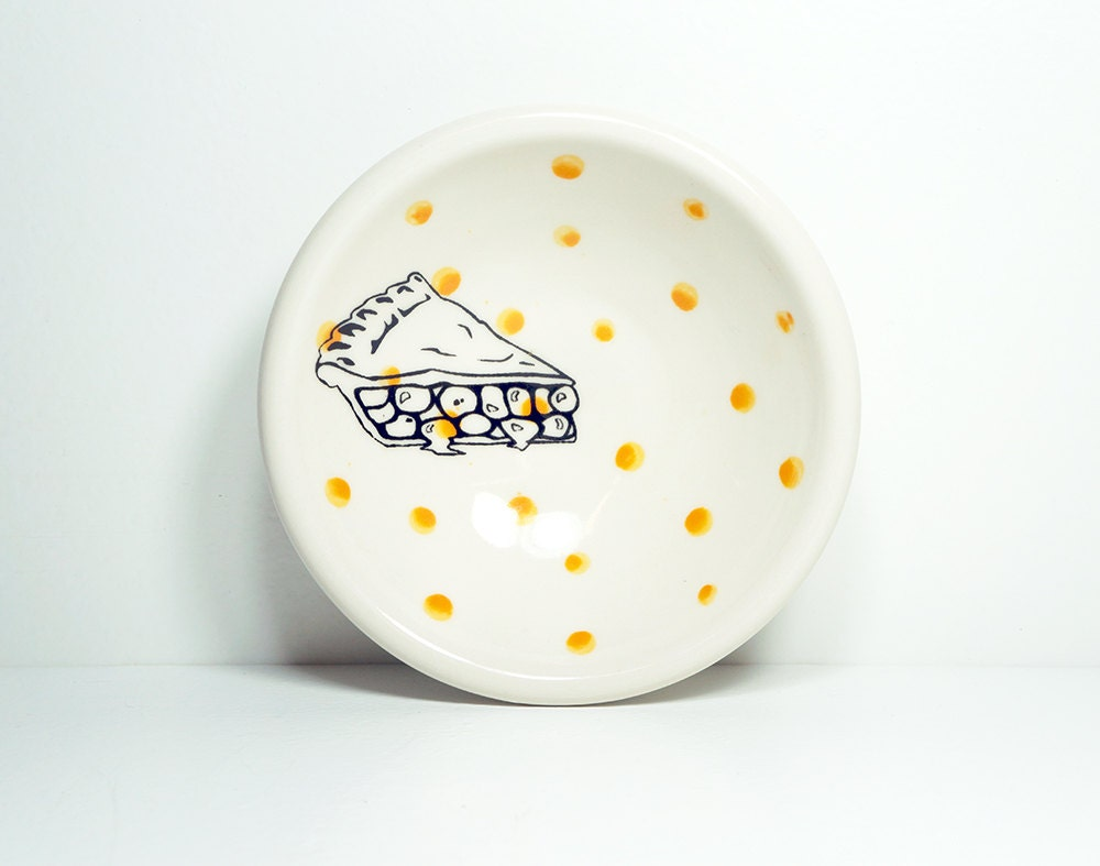 small dish, with a pie slice on orange polkadots, made to order / pick your colour