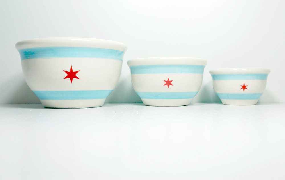 NESTING mixing bowl set of the Chicago Flag. Made to Order.