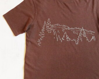 Mens Hemp T-shirt with Mountain Ridge - Brown - Screen Printed