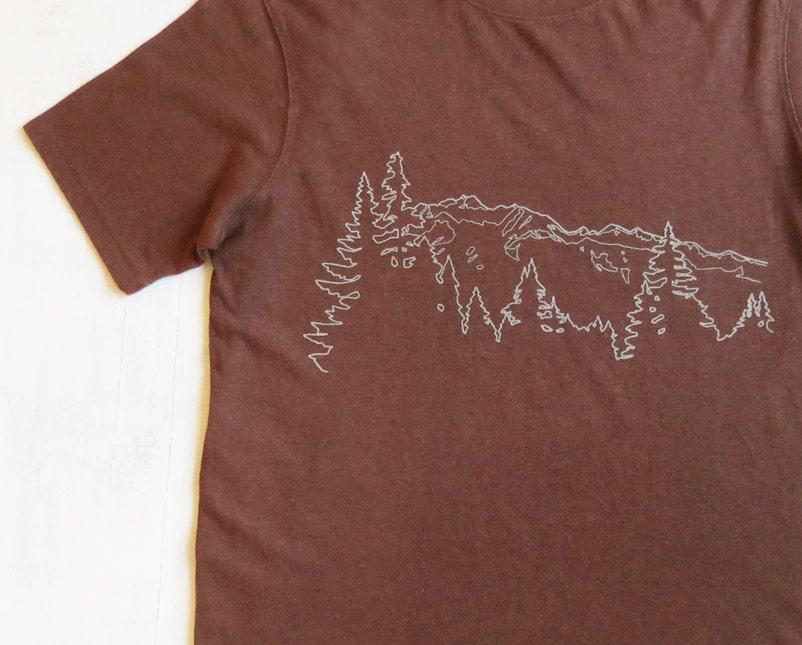 Mens hemp t shirt with mountain ridge brown screen printed for Mens hemp t shirts