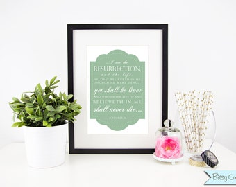 Easter Scripture in GREEN Subway Art Printable Wall Art by BitsyCreations Instant Download