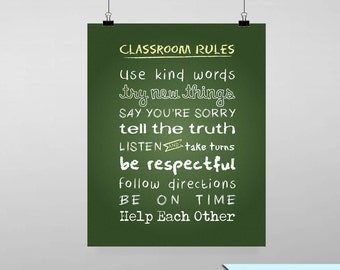 Classroom Rules on Chalkboard Printable Wall Art by BitsyCreations Back to School Teacher Instant Download