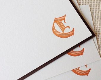 Letterpressed Monogram Card Set - Old English