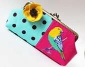 Clutch canary bird on fuchsia pink brown polka dots on aqua blue yellow flower pin turquoise kiss lock purse clutch purse bright spring