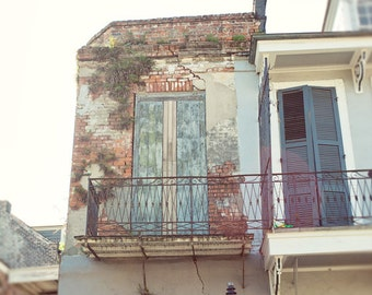 new orleans photography, french quarter architecture, blue decor, building photography, wall art, home decor, shutters