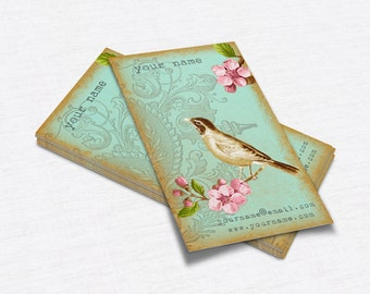 Business Cards  Custom Business Cards  Personalized Business Cards  Business Card Template  Vintage Business Cards  Bird Business Card V24