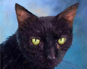 Black Cat Portrait I Custom Cat Portrait I Cat Painting From Your Photo I Cat Portrait by NC