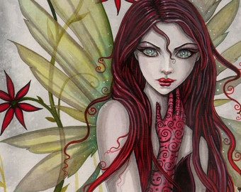 Scarlet Flower Fairy Fine Art Giclee Print - 5 x 7 - Fantasy Art by Molly Harrison