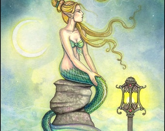 Waiting for the Tide to Turn - 9 x 12 Mermaid Fantasy Watercolor Fine Art Print by Molly Harrison