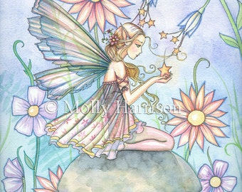 Garden of Wishes - Flower Fairy Watercolor Illustration Fine Art Giclee Print 9 x 12