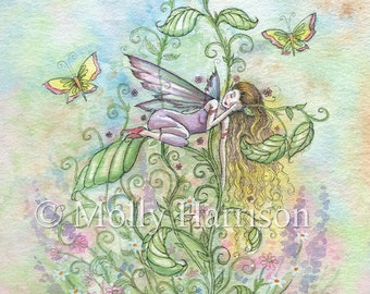 Sacred Sleep - Watercolor Flower Fairy Illustration - Fine Art Giclee Print by Molly Harrison Fantasy Art 8 x 10