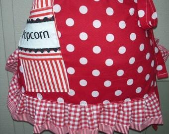 Womens Aprons - Popcorn Aprons - Theater Popcorn Aprons - Red Aprons - Monogrammed Aprons - Apron with a Ppcorn Pocket - Annies Attic Aprons