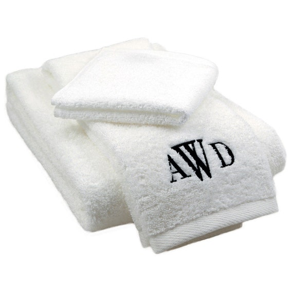 Monogram Towels For Bathroom: Monogrammed Bath Towel Set Personalized By UptownMonogramShop