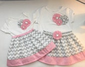 BOUTIQUE ..Shabby chic...Pink and grey chevron  ..sister Set...with DRESS and big sister OUTFIT