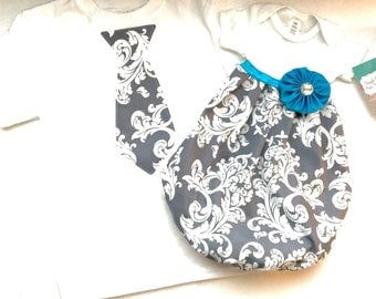 BOUTIQUE Sibling set..grey Damask baby GOWN... and Tie T-SHIRT children's clothing.. new baby