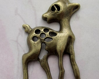 2 pcs. casted antiqued brass tone baby deer fawn pendant charms 52x33mm - f4534